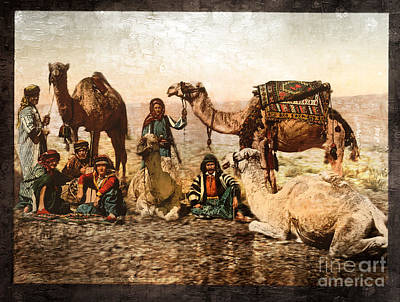 Photograph - Camels In The Desert - Remastered by Carlos Diaz