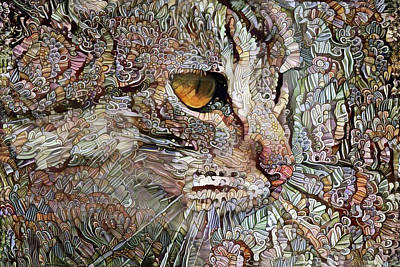 Digital Art - Camo Cat by Peggy Collins