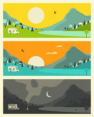 Sunset Digital Art - Campfire 1 by Jazzberry Blue