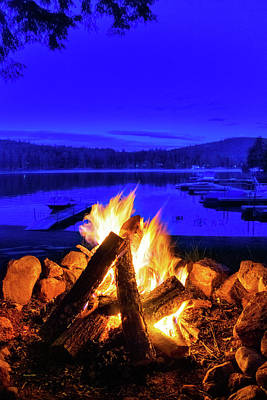Royalty-Free and Rights-Managed Images - Campfire By The Lake by Christina Rollo