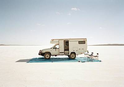 Photograph - Camping With Motor Home On Salt Flat by Tobias Titz