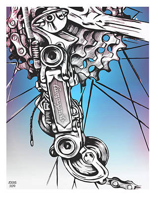 Drawings Rights Managed Images - Campy Derailleur Royalty-Free Image by Greg Joens