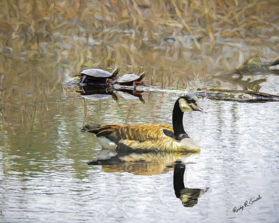 Digital Art - Canada Goose And Two Painted Turtles Together In A New England M by Rusty R Smith