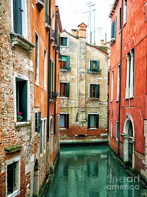 Photograph - Canal Building Colors In Venice by John Rizzuto