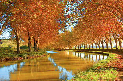 Symmetry Photograph - Canal Du Midi In South Of France by Visions Of Our Land