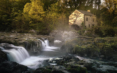 Elliott Coleman Royalty-Free and Rights-Managed Images - Cenarth Falls at Sunrise by Elliott Coleman