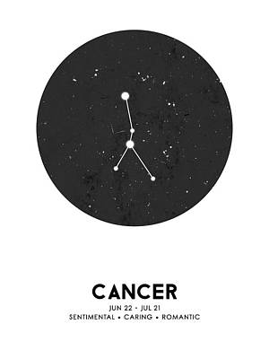 Mixed Media Royalty Free Images - Cancer Poster - Zodiac Sign Print - Zodiac Poster - Cancer Print - Night Sky - Stars - Cancer Traits Royalty-Free Image by Studio Grafiikka
