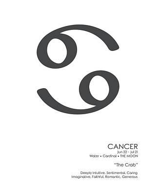 Mixed Media Royalty Free Images - Cancer Poster - Zodiac Signs Print - Zodiac Posters - Cancer Print - Black and White - Cancer Traits Royalty-Free Image by Studio Grafiikka