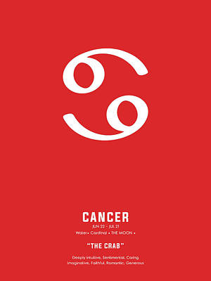 Royalty-Free and Rights-Managed Images - Cancer Poster - Zodiac Signs Print - Zodiac Posters - Cancer Print - Red and White - Cancer Traits by Studio Grafiikka