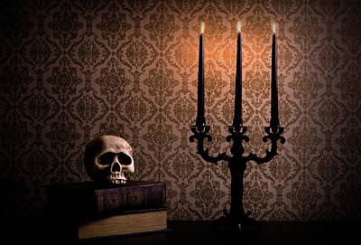 Photograph - Candelabra With Spooky Halloween Skull by Quavondo