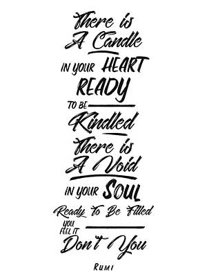 Mixed Media Royalty Free Images - Candle in your heart, Void in your soul - Rumi Quotes - Rumi Poster - Typography - Lettering Royalty-Free Image by Studio Grafiikka