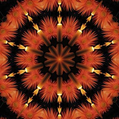 Digital Art - Candles And Flowers Kaleidoscope by Cindy Boyd
