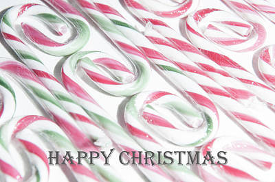 Photograph - Candy Cane Swirls - Happy Christmas by Helen Northcott