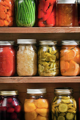 Jar Photograph - Canning Jars Of Canned Food On Shelves by Yinyang
