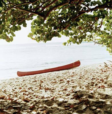 Antilles Photograph - Canoe Docked On Shays Beach, St. Croix by Georgia Kokolis