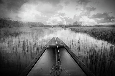 Photograph - Canoeing Into Moonlight In Black And White by Debra and Dave Vanderlaan