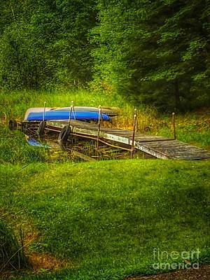 Nikki Vig Royalty-Free and Rights-Managed Images - Canoes on the Lake by Nikki Vig