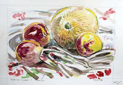 Painting - Cantaloupe And Peach by Ann Heideman