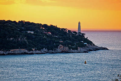 Beverly Brown Fashion Rights Managed Images - Cap Ferrat peninsula and lighthouse sunrise view, amazing scener Royalty-Free Image by Brch Photography