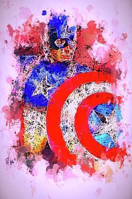 Mixed Media - Captain America Watercolor by Al Matra
