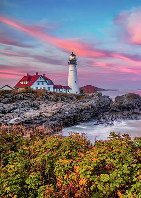 Royalty-Free and Rights-Managed Images - Cape Elizabeth Lighthouse - Portland Head Light in Autumn by Gregory Ballos