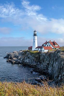 Photograph - Cape Elizabeth Maine Portland Head Lighthouse Seascape by Bill Cannon