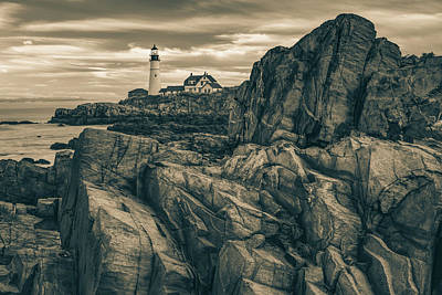 Royalty-Free and Rights-Managed Images - Cape Elizabeth Rocky Coast and Portland Head Light in Sepia by Gregory Ballos