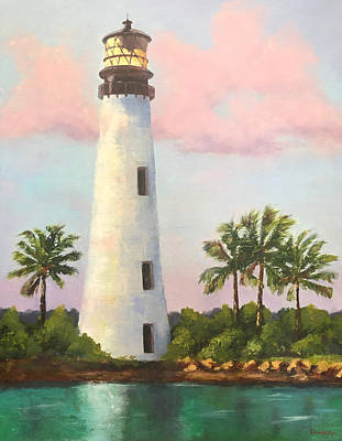 Painting - Cape Florida Light, Key Biscayne by Rosie Phillips