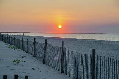 Photograph - Cape May - Cyclone Fence At Sunrise by Bill Cannon