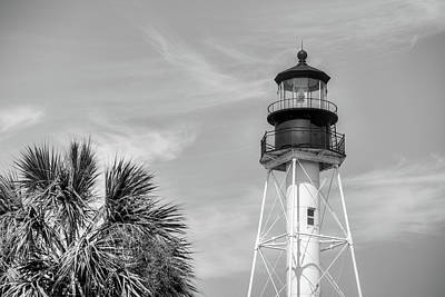 Photograph - Cape San Blas Lighthouse Black And White by JC Findley