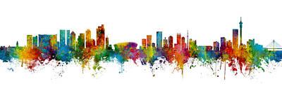 Digital Art - Cape Town And Johannesburg Skyline Mashup by Michael Tompsett