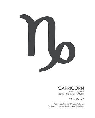 Granger Royalty Free Images - Capricorn Poster - Zodiac Signs Print - Zodiac Posters - Capricorn Print - Black and White Royalty-Free Image by Studio Grafiikka
