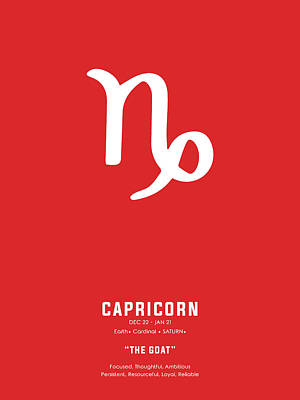Royalty-Free and Rights-Managed Images - Capricorn Poster - Zodiac Signs Print - Zodiac Posters - Capricorn Print - Red and White by Studio Grafiikka