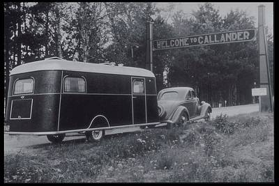 Photograph - Car With Mobile Home Pulls Into Campsite by Archive Holdings Inc.