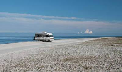 Water Photograph - Caravan On Beach by Hokan Jansson