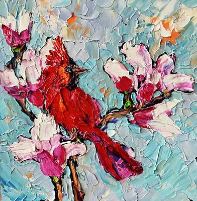 Food And Flowers Still Life Rights Managed Images - Cardinal in a Cherry Tree Royalty-Free Image by Carrie Jacobson