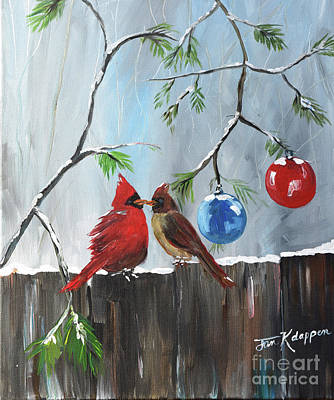 Painting - Cardinals-dressed In Holiday Style by Jan Dappen