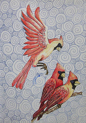 Drawing - Cardinals  by Monique Montney