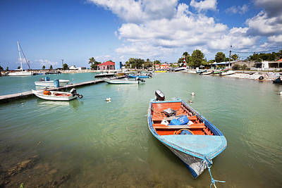 Antilles Photograph - Caribbean Fishing Harbor With Boats by Stevegeer