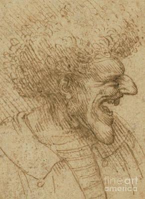 Hatching Wall Art - Drawing - Caricature Of A Man With Bushy Hair by Leonardo Da Vinci