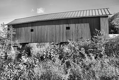 Photograph - Carleton Covered Bridge Black And White by Adam Jewell