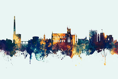Digital Art - Carlisle England Skyline by Michael Tompsett