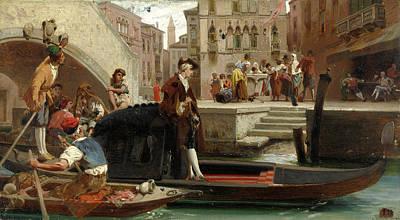 Painting - Carlo Goldoni Seeking Inspiration From Life by Enrico Gamba