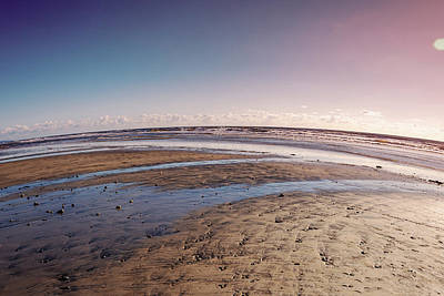 Photograph - Carlsbad Low Tide Red Blue Sky by Alison Frank