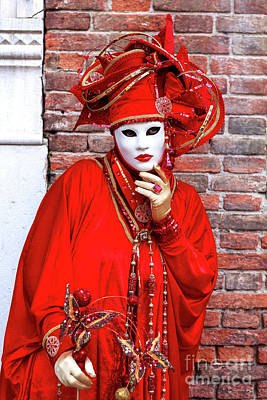 Photograph - Carnival Model Thinking In Venice by John Rizzuto