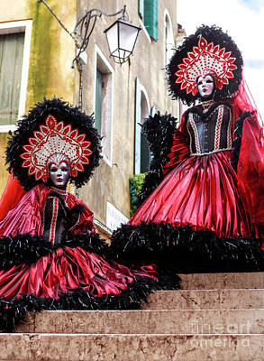 Photograph - Carnival Sisters In Venice by John Rizzuto