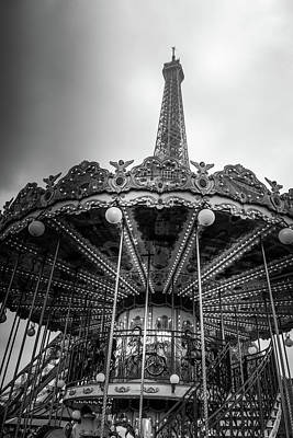 Photograph - Carousel By The Eiffel Tower - Mono by Georgia Fowler