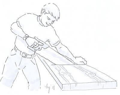 Drawing - Carpenter Woodworker Carpenter Joiner Cabinetmaker Drawing by Mike Jory