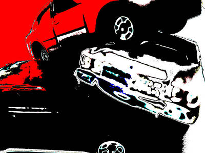 Digital Art - Cars In Red And White by Artist Dot