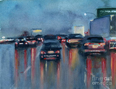 Painting - Cars In the Rain by Sonserae Leese